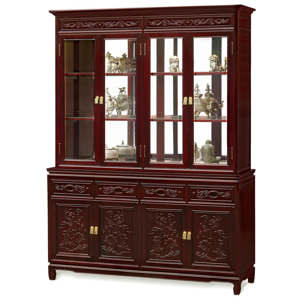 Dark Cherry Rosewood Dragon Oriental China Cabinet
