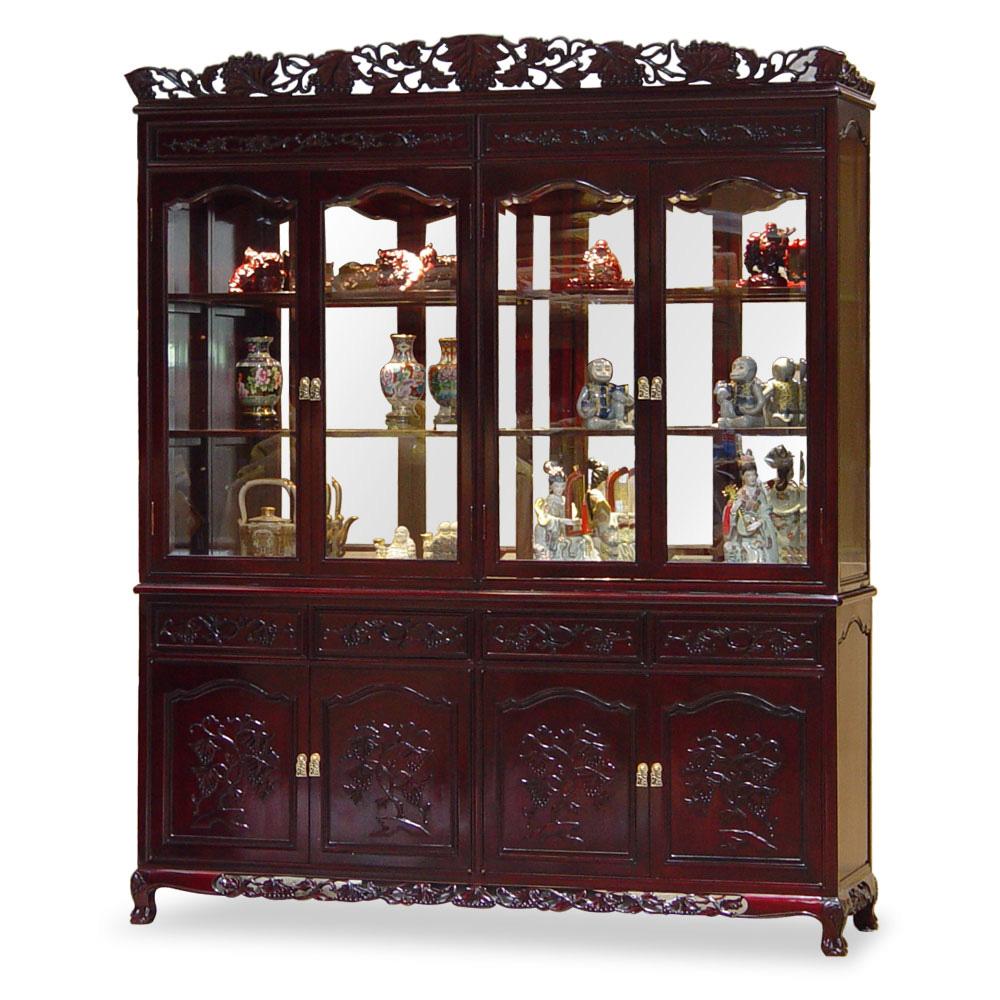 Dark Cherry Rosewood Grape Motif Oriental China Cabinet