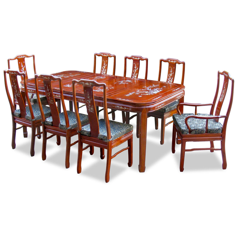 80in Rosewood Mother of Pearl Motif Dining Table with 8 Chairs