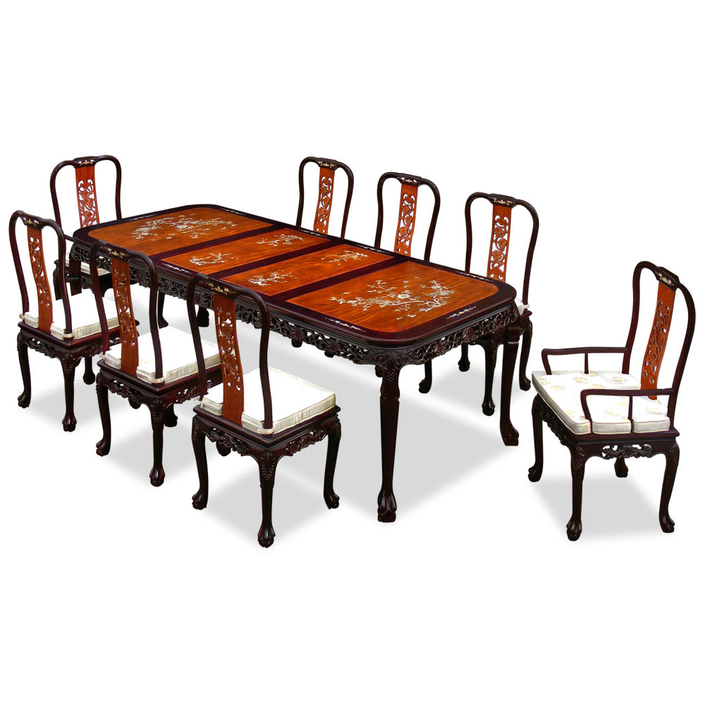 96in Rosewood Queen Ann Grape Motif Dining Table with 8 Chairs