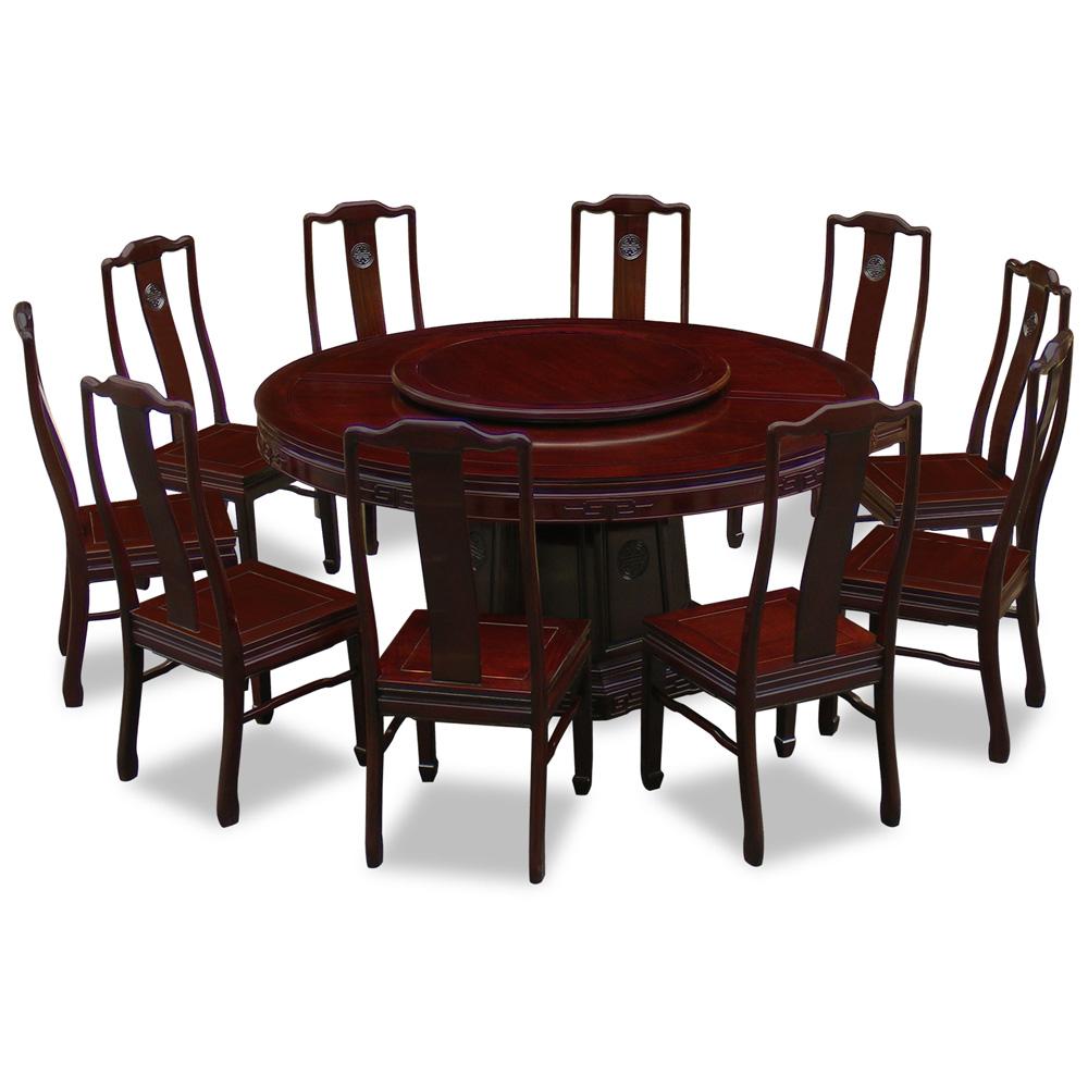 Dark Cherry Rosewood Chinese Longevity Round Dining Set with 10 Chairs