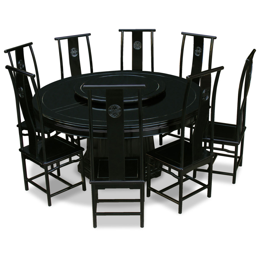 Black Rosewood Chinese Longevity Round Dining Set with 8 Chairs