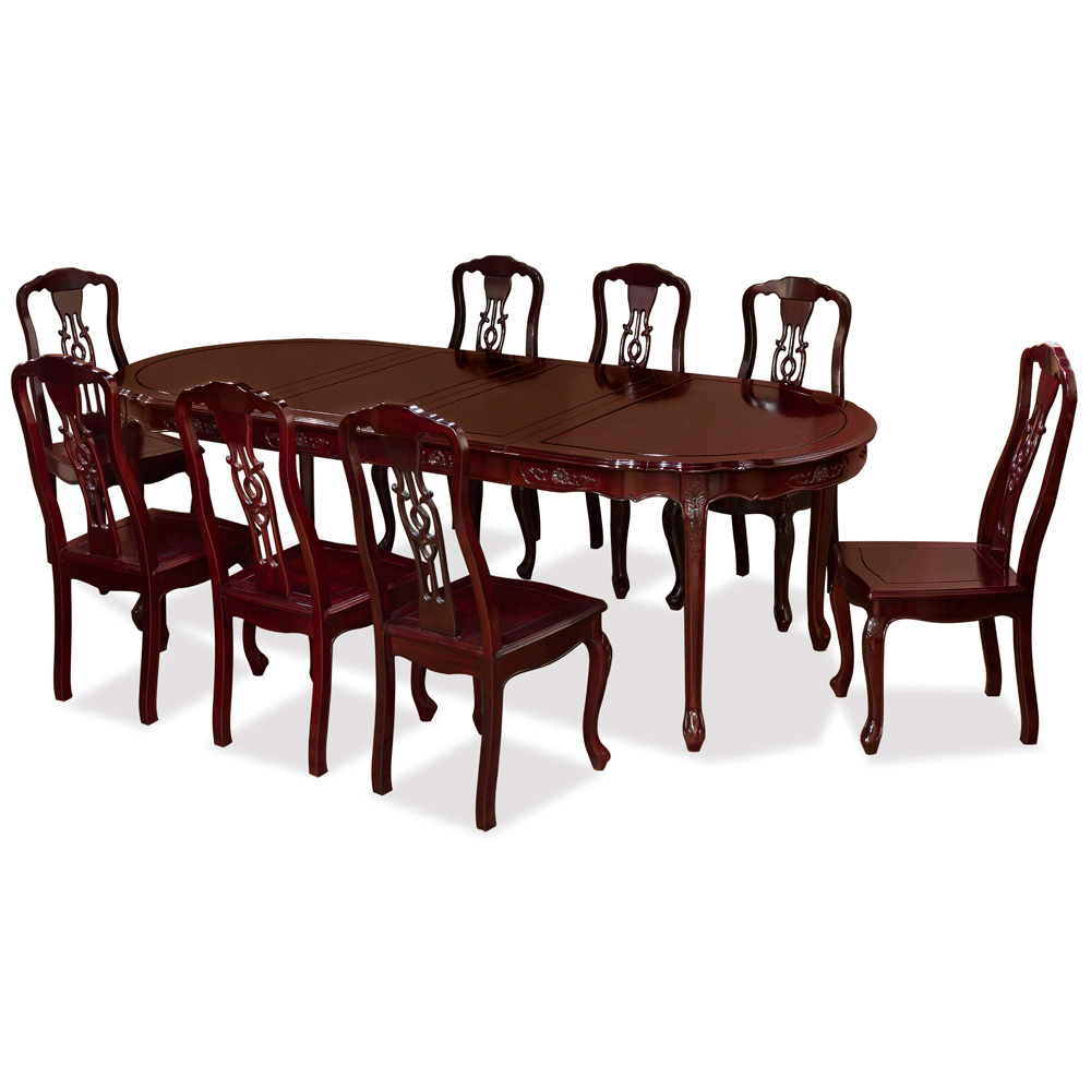 Dark Cherry Rosewood French Oval Dining Set with 8 Chairs