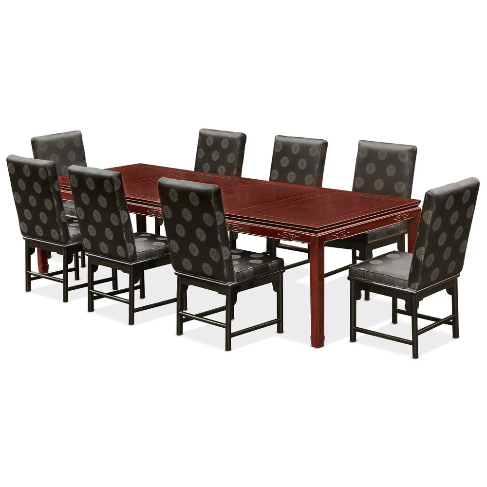 Dark Cherry Rosewood Longevity Rectangle Dining Set with with 8 Upholstered Chairs