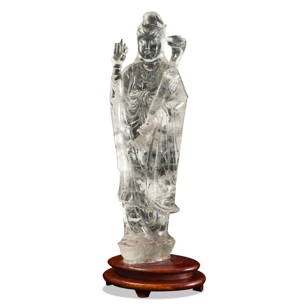 Clear Quartz Guanyin Asian Sculpture