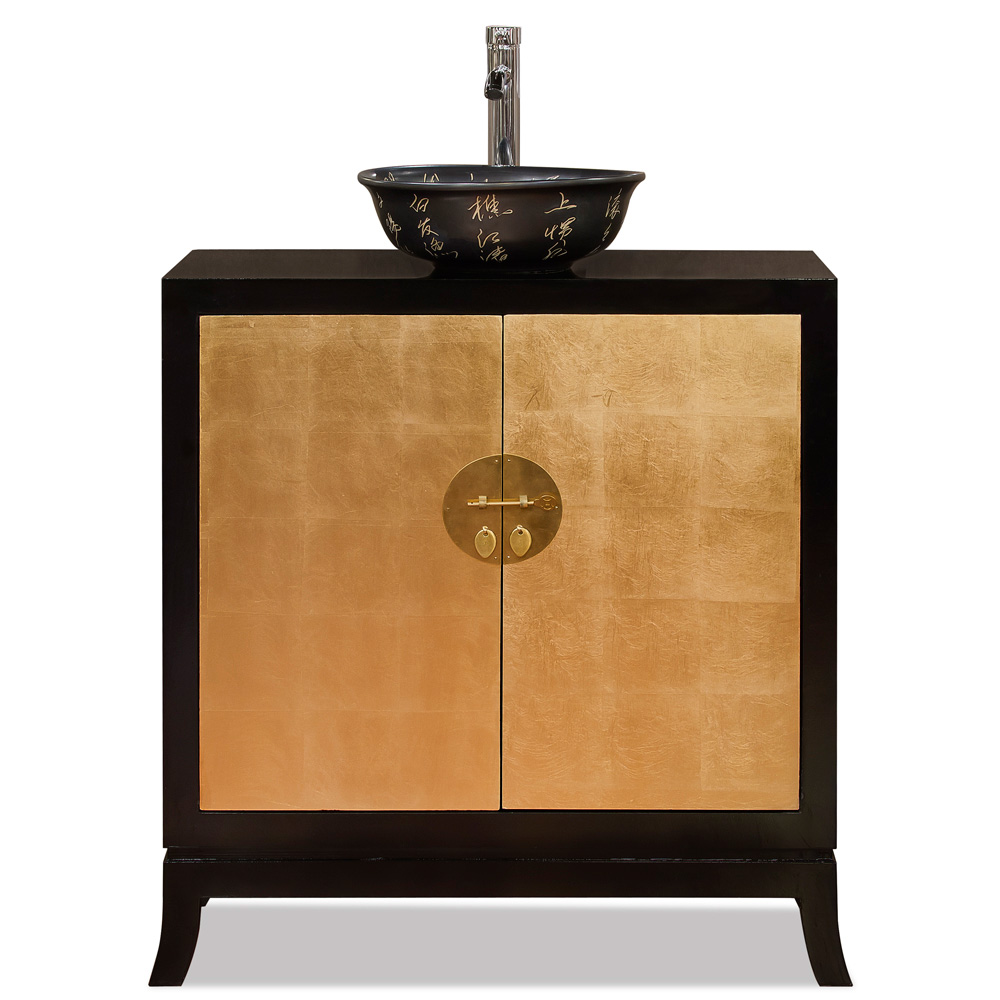 Gold Leaf Imperial Tang Cabinet