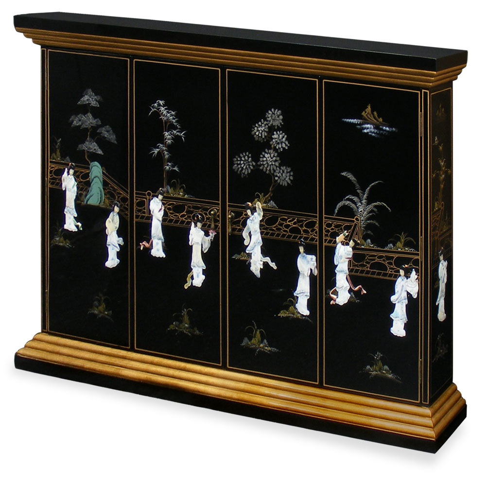 Black Lacquer Maidens Motif Wall TV Cabinet