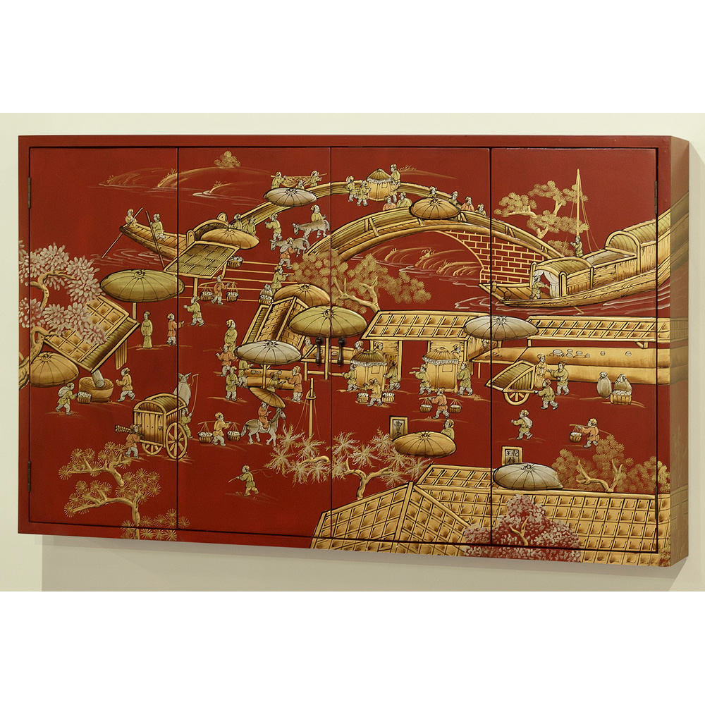 Chinoiserie Motif Wall Media Cabinet
