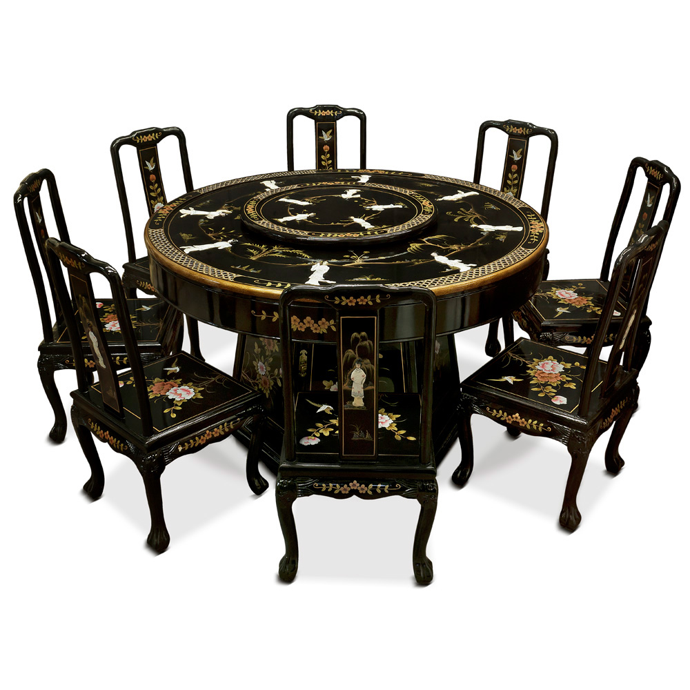 Black Lacquer Mother of Pearl Round Dining Set with 8 Chairs