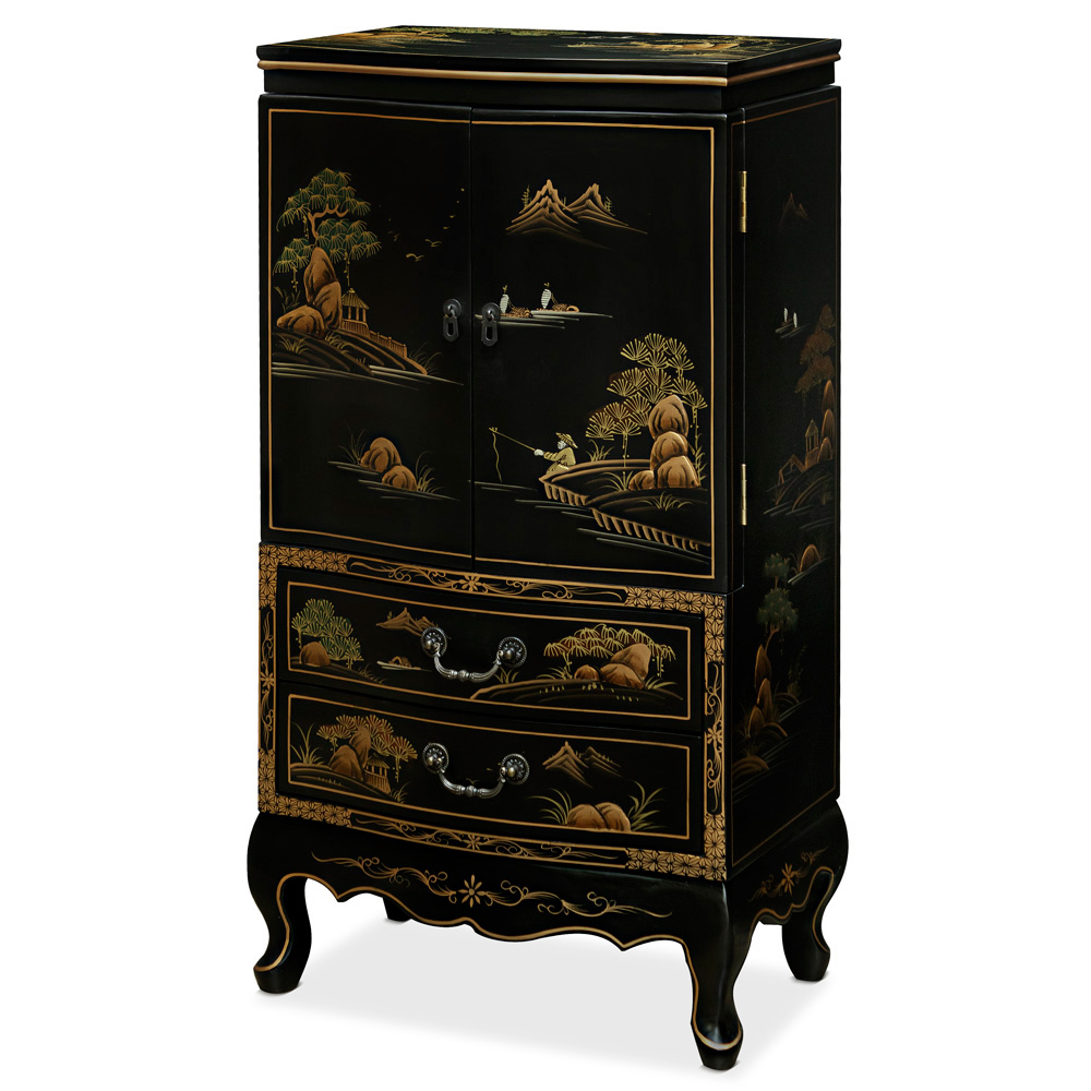 Chinoiserie Scenery Motif Oriental Jewelry Armoire