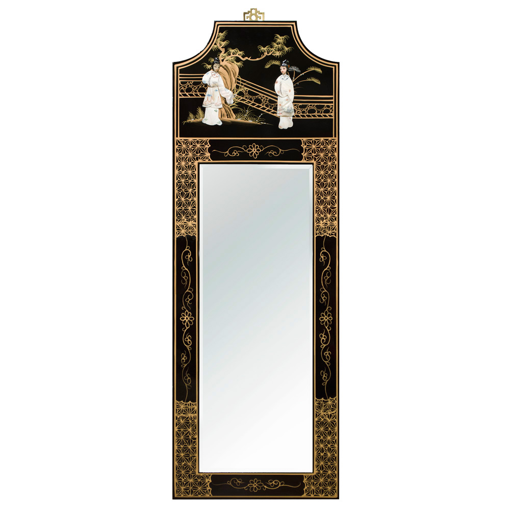 Black Lacquer Mother of Pearl Panel Oriental Mirror