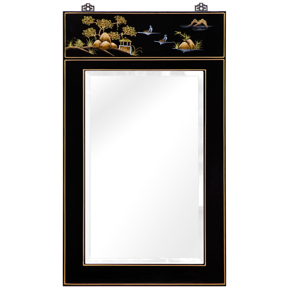 Chinoiserie Scenery Motif Oriental Vertical Mirror