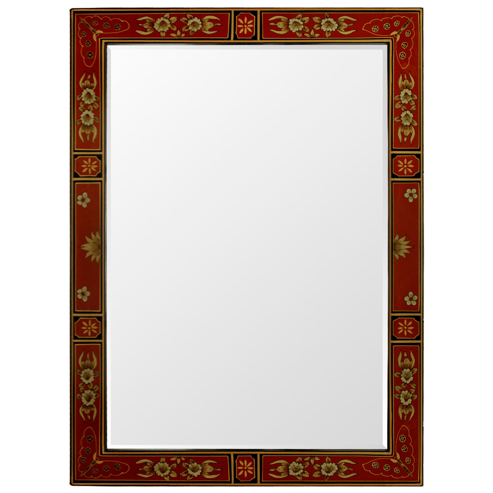 Red Tibetan Vertical Mirror