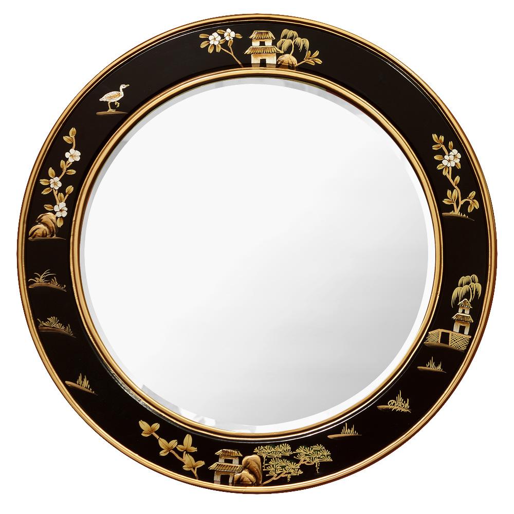 Chinoiserie Scenery Motif Round Mirror