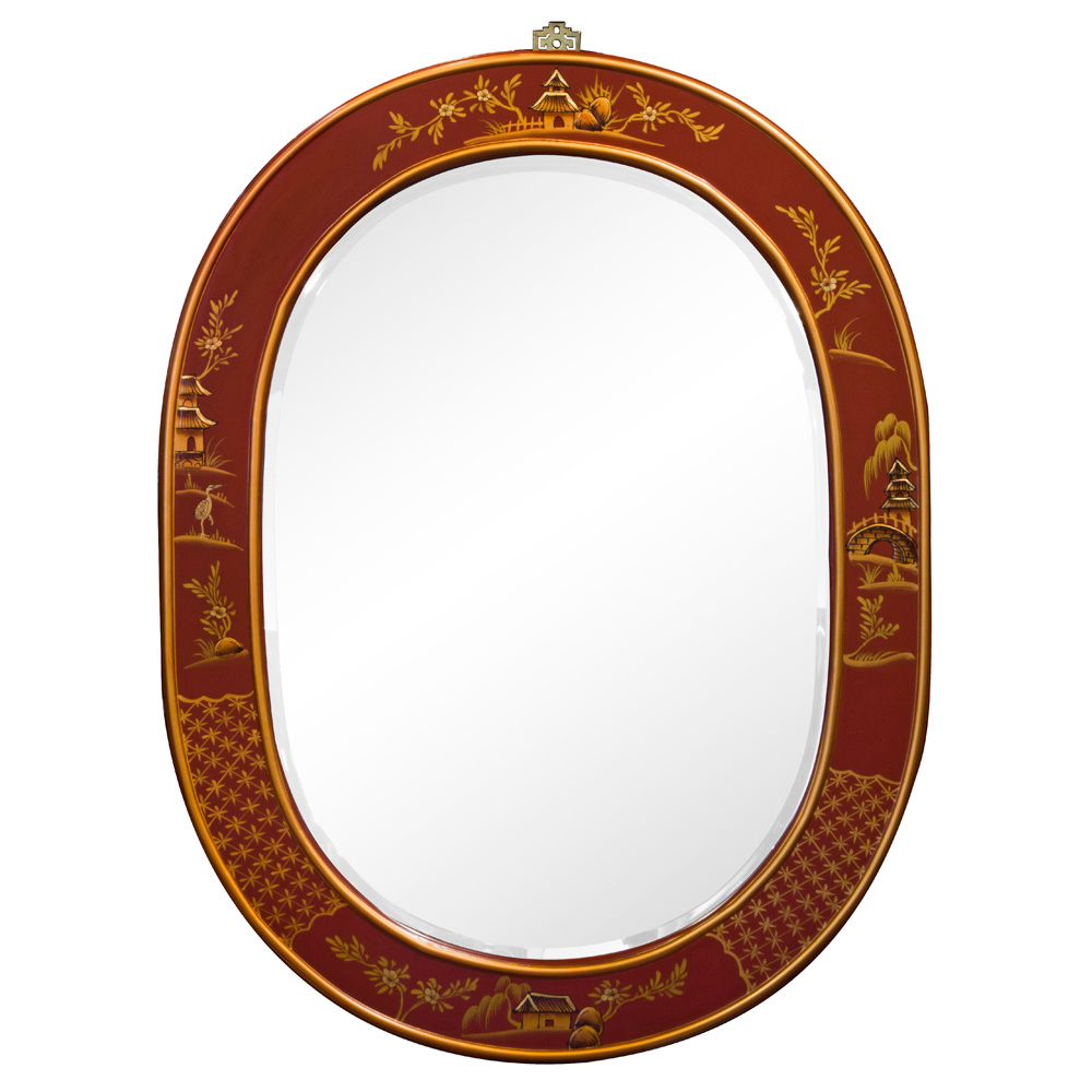 Chinoiserie Scenery Motif Oval Mirror