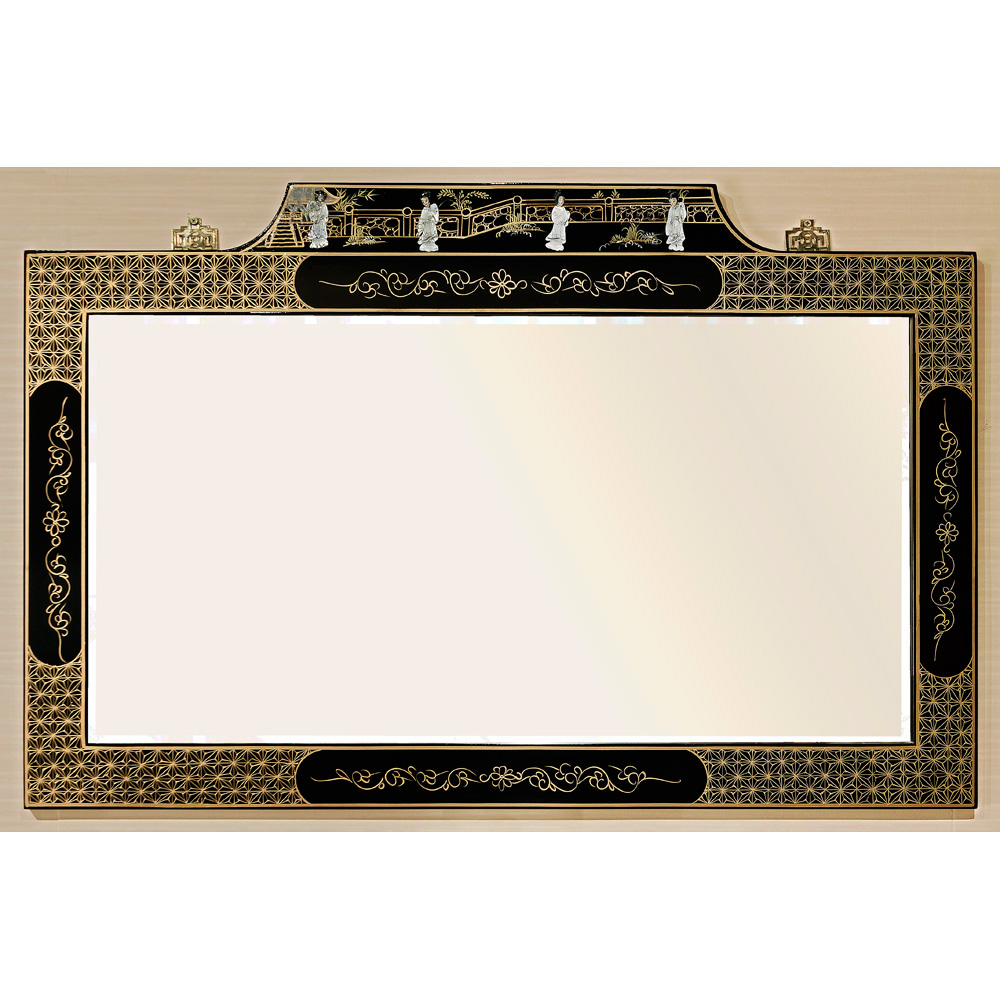 Black Lacquer Mirror w/ Mother of Pearl Dancing Ladies