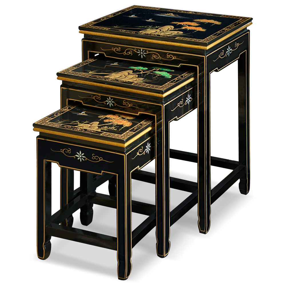 Chinoiserie Scenery Motif Black Oriental Nesting Tables