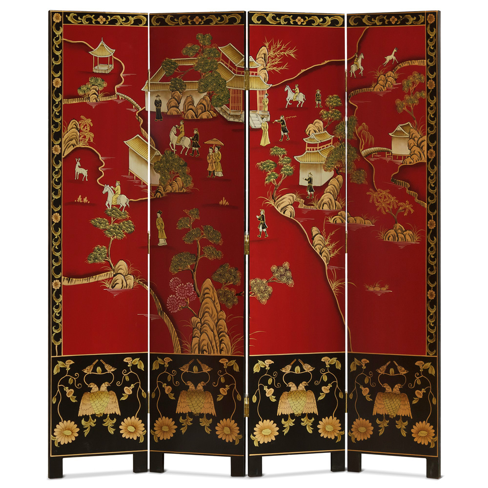 18th Century Chinoiserie Scenery Oriental Floor Screen with Courtyard Scene