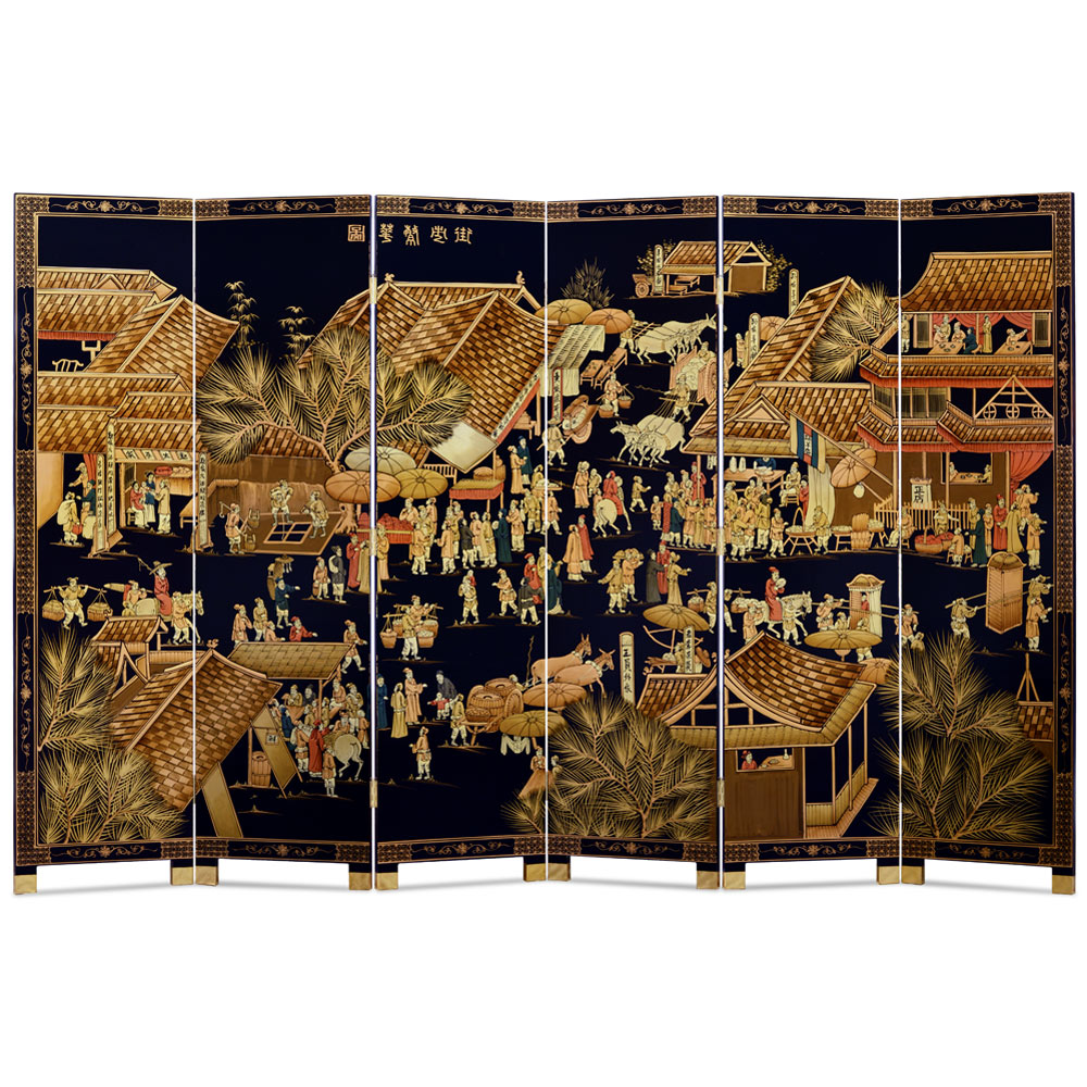 Chinoiserie Scenery 6 Panel Oriental Floor Screen with Spring Festival Scene