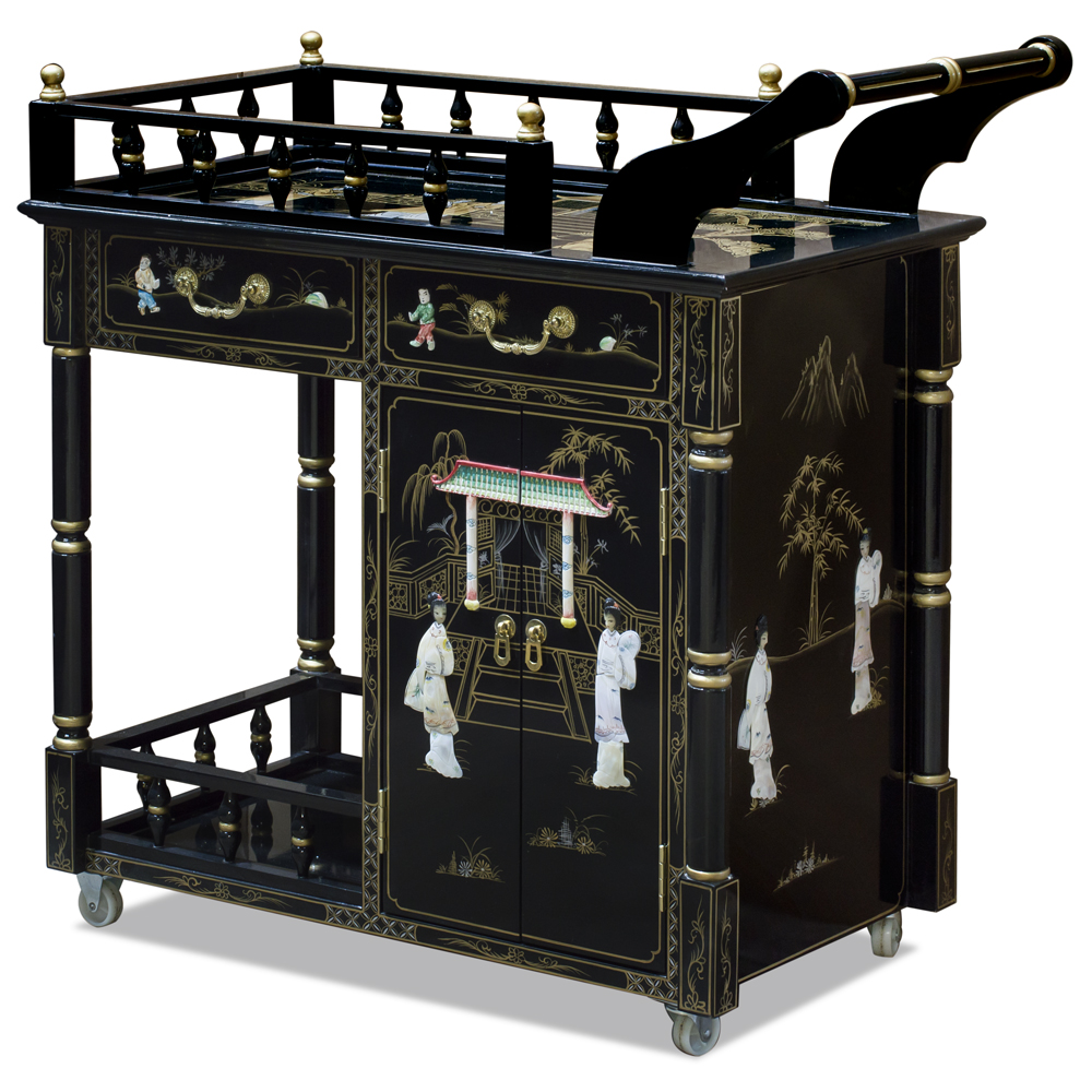 Black Lacquer Mother of Pearl Chinese Tea Cart