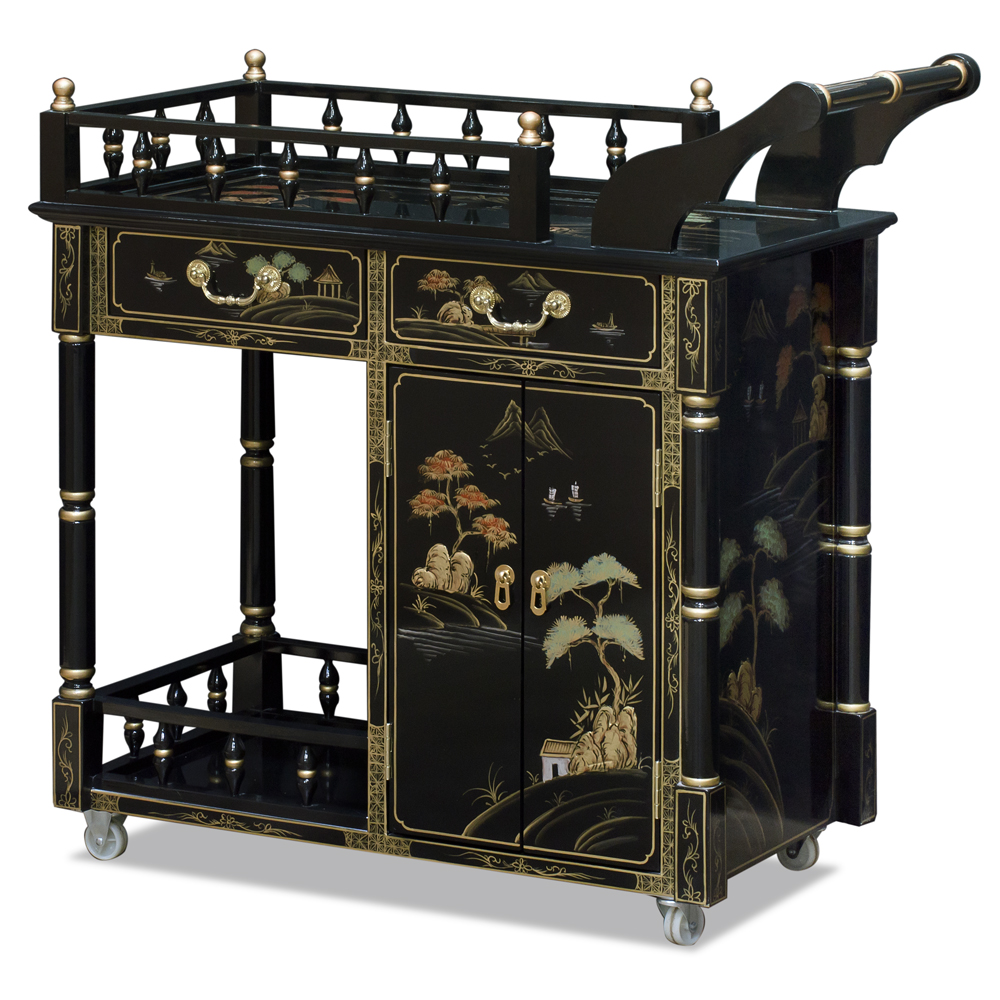 Black Lacquer Chinoiserie Scenery Chinese Tea Cart