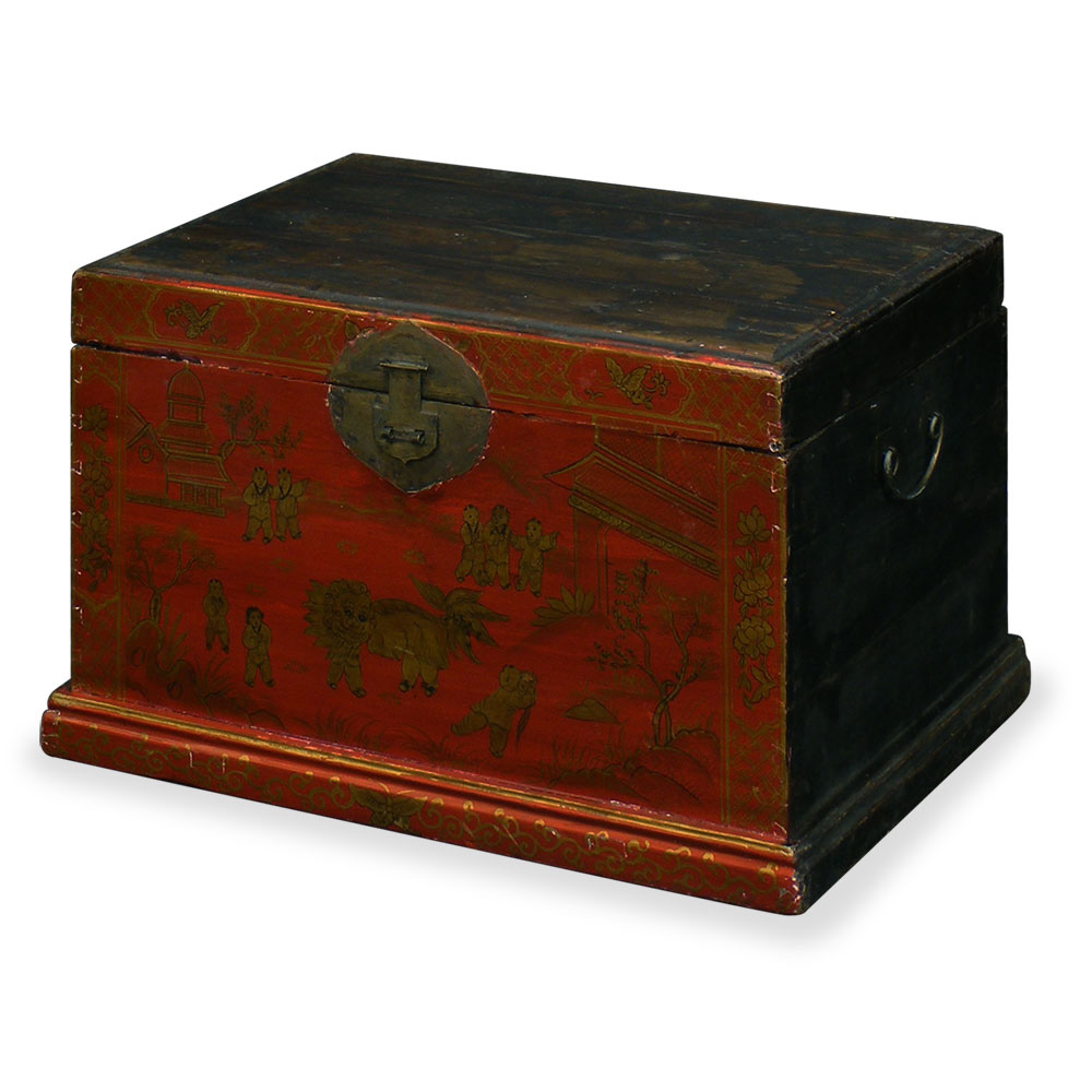 Antique Red Dowry Trunk