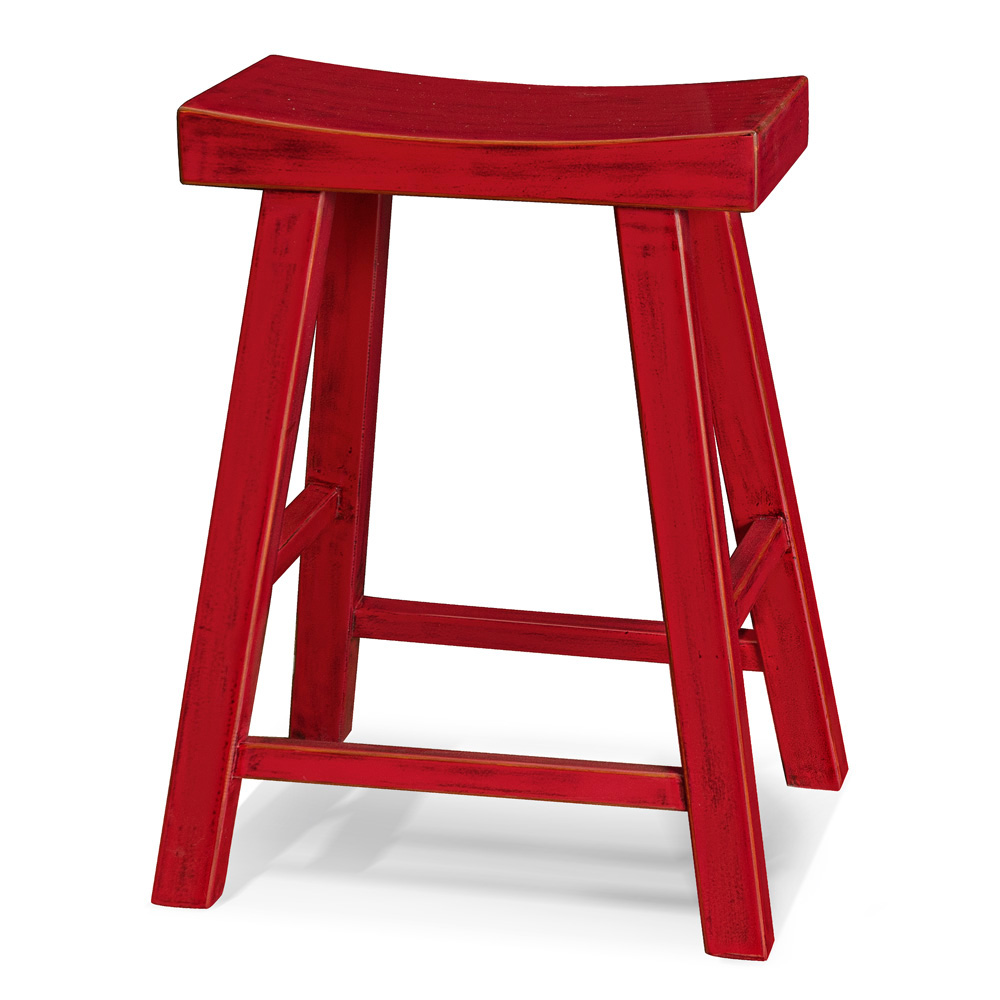 Distressed Red Elmwood Zen Style Asian Bar Stool