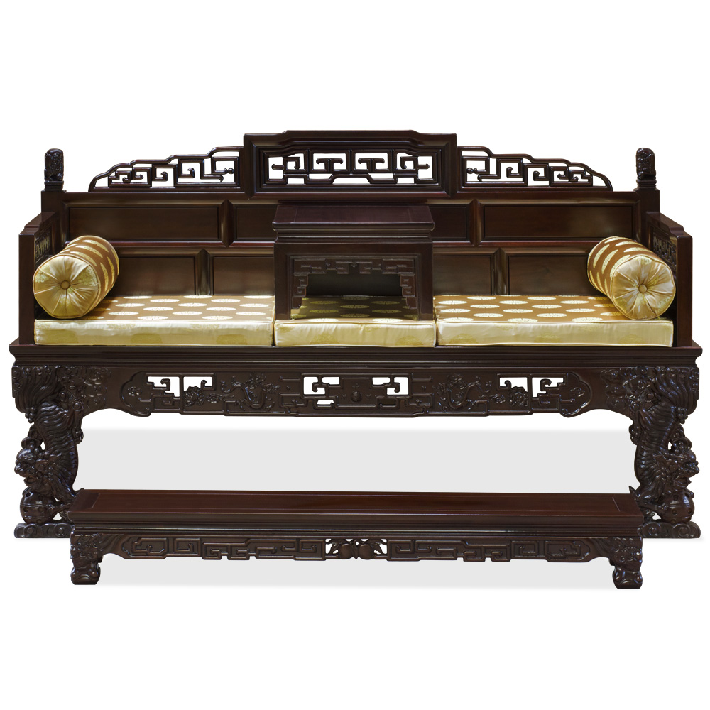 Mahogany Finish Rosewood Imperial Palace Asian Day Bed