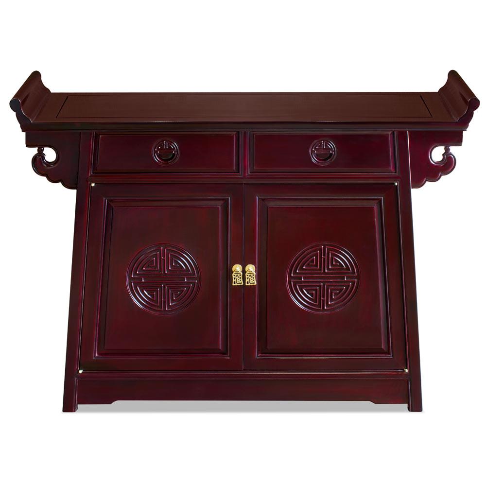 Dark Cherry Rosewood Chinese Longevity Design Altar Cabinet
