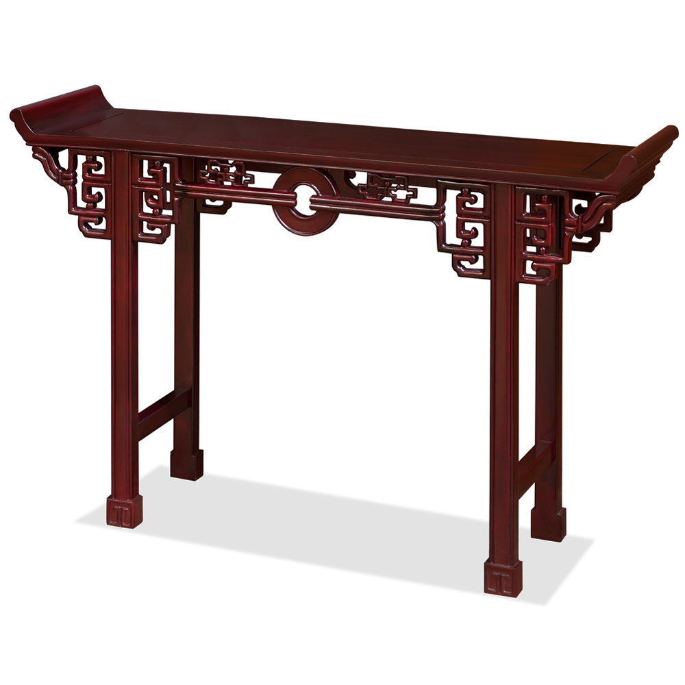 48 Inch Dark Cherry Rosewood Coin Design Asian Altar Table