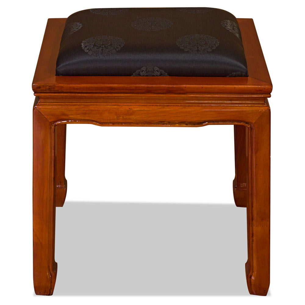 Natural Finish Rosewood Chinese Ming Stool with Black Silk Cushion