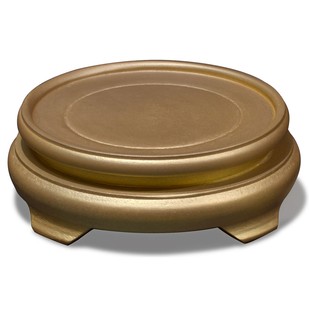 4.5 Inch Gold Round Chinese Wooden Stand