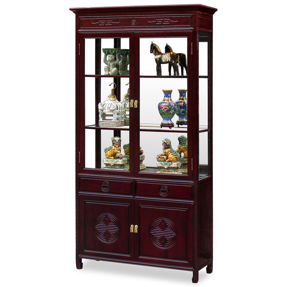 Dark Cherry Rosewood Longevity Design Oriental China Cabinet