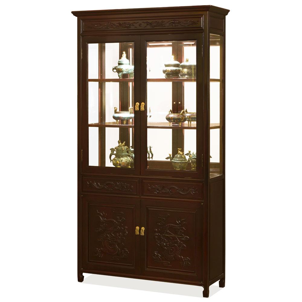 Dark Cherry Rosewood Prosperity Dragon Design Oriental China Cabinet