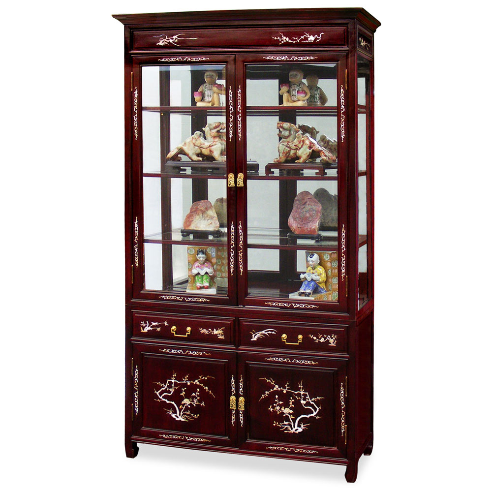 Dark Cherry Rosewood Mother of Pearl Inlaid Oriental China Cabinet