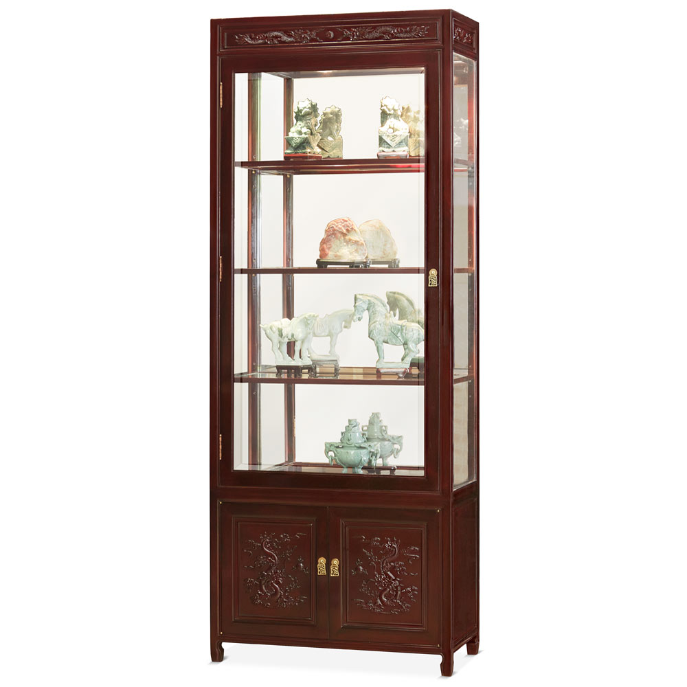 Dark Cherry Rosewood Prosperity Dragon Chinese Display Cabinet