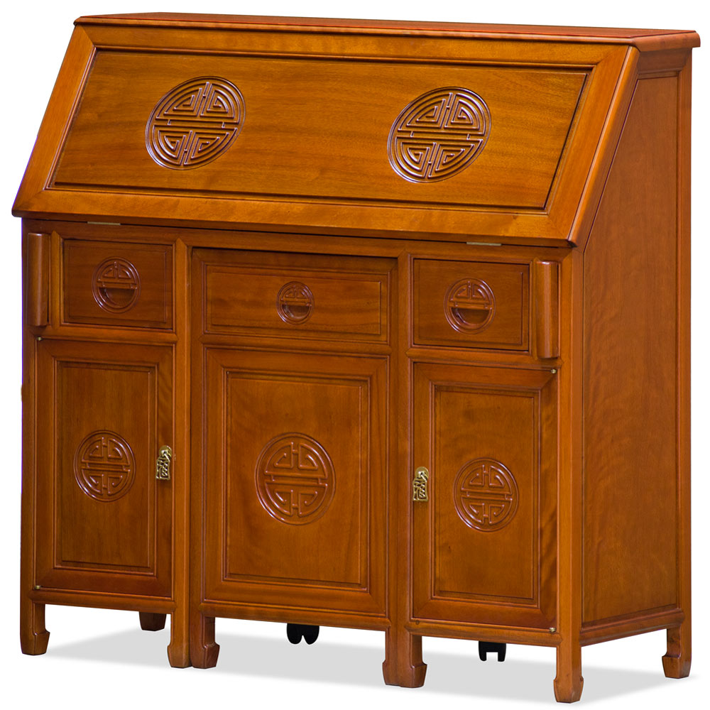 Natural Finish Rosewood Longevity Design Oriental Secretaire with Chair