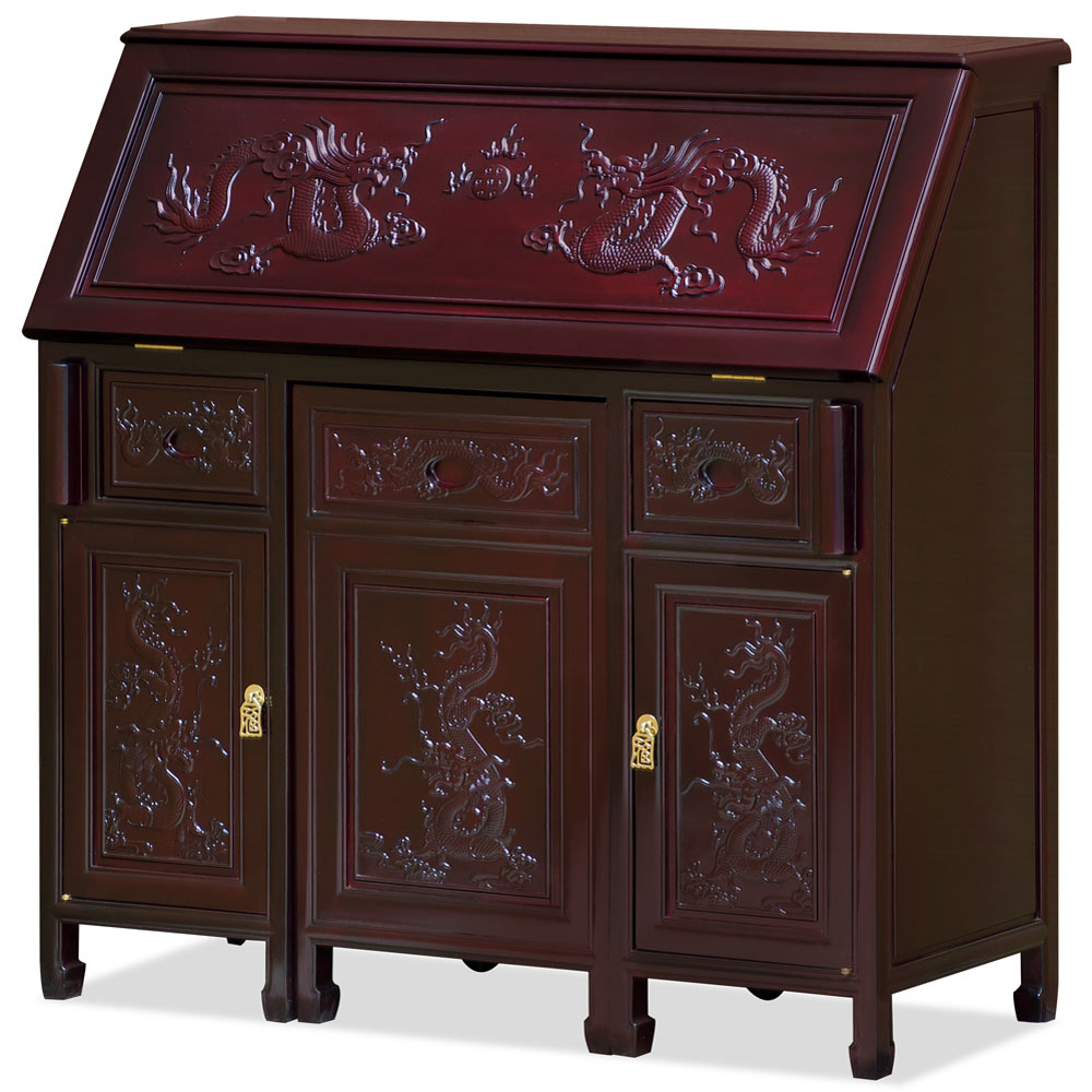Dark Cherry Rosewood Prosperity Dragon Design Asian Secretaire with Chair