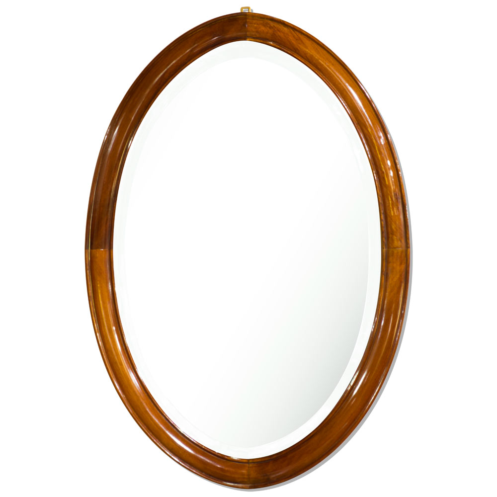 Natural Finish Rosewood Chinese Ming Oval Mirror
