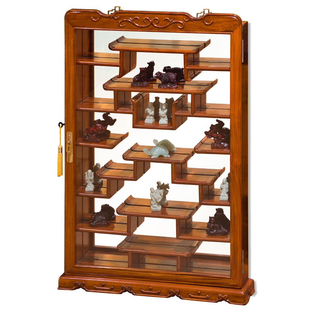 Natural Finish Rosewood Oriental Wall Curio Cabinet