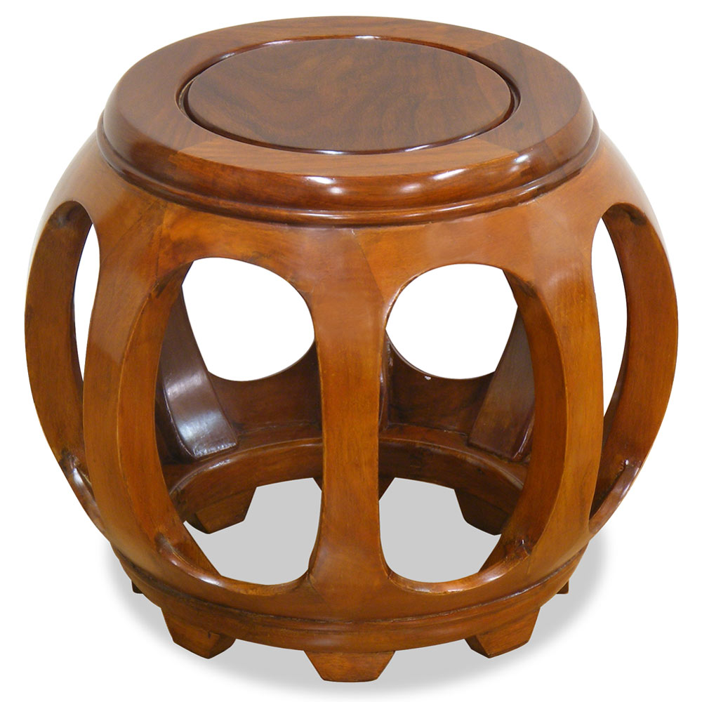 Natural Finish Rosewood Petite Asian Round Stool