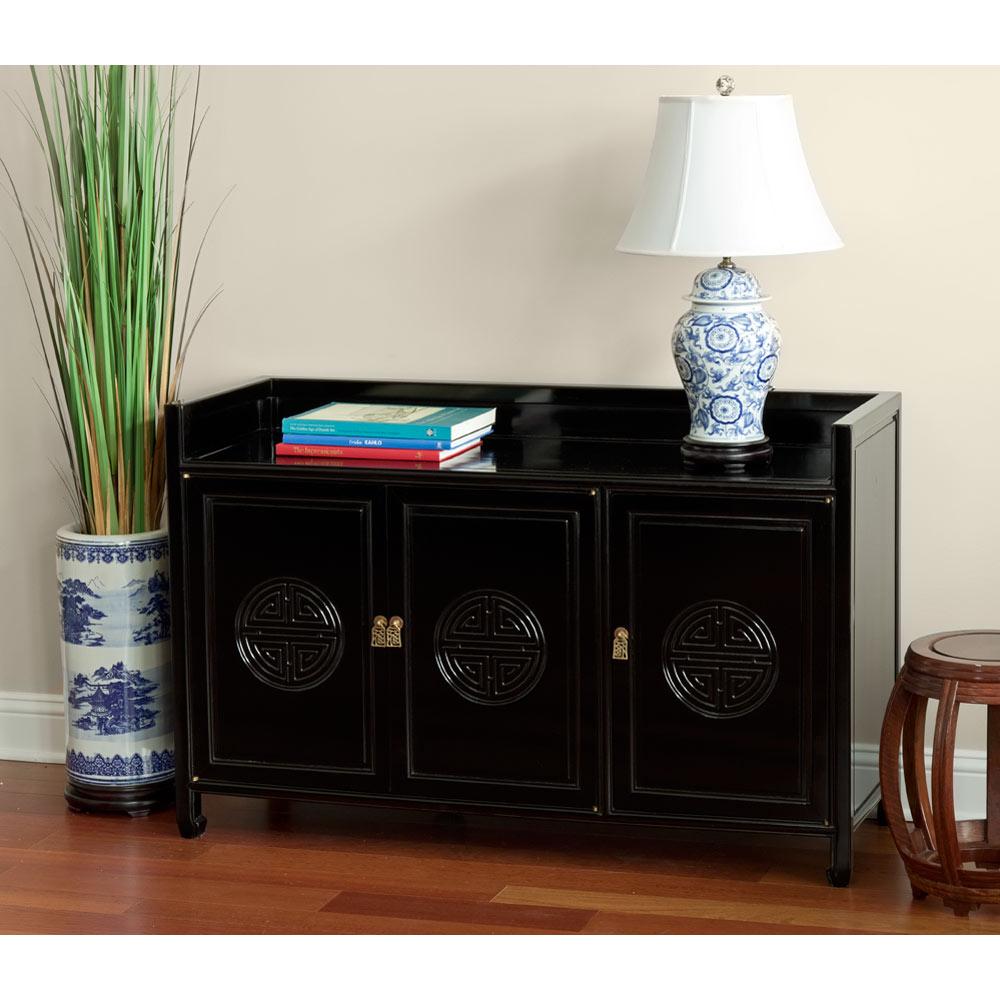 Black Rosewood Longevity Motif 3 Door Cabinet