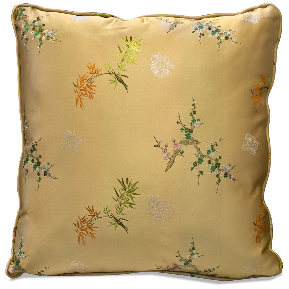 Gold Chinese Silk Floral Pillow