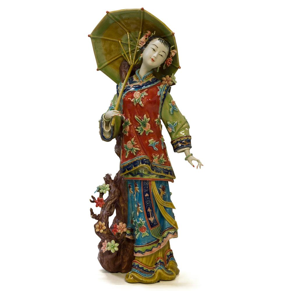 Chinese Porcelain Figurine, Lady Holding Umbrella