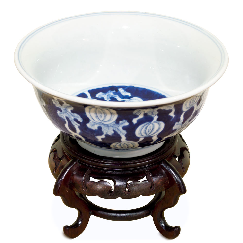 Blue and White Petite Plum Fruit Motif Porcelain Bowl