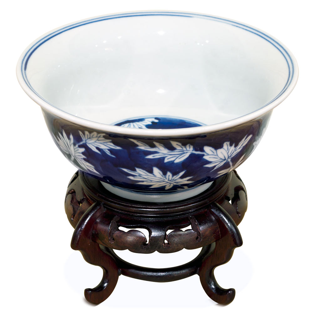 Blue and White Petite Bamboo Motif Porcelain Bowl