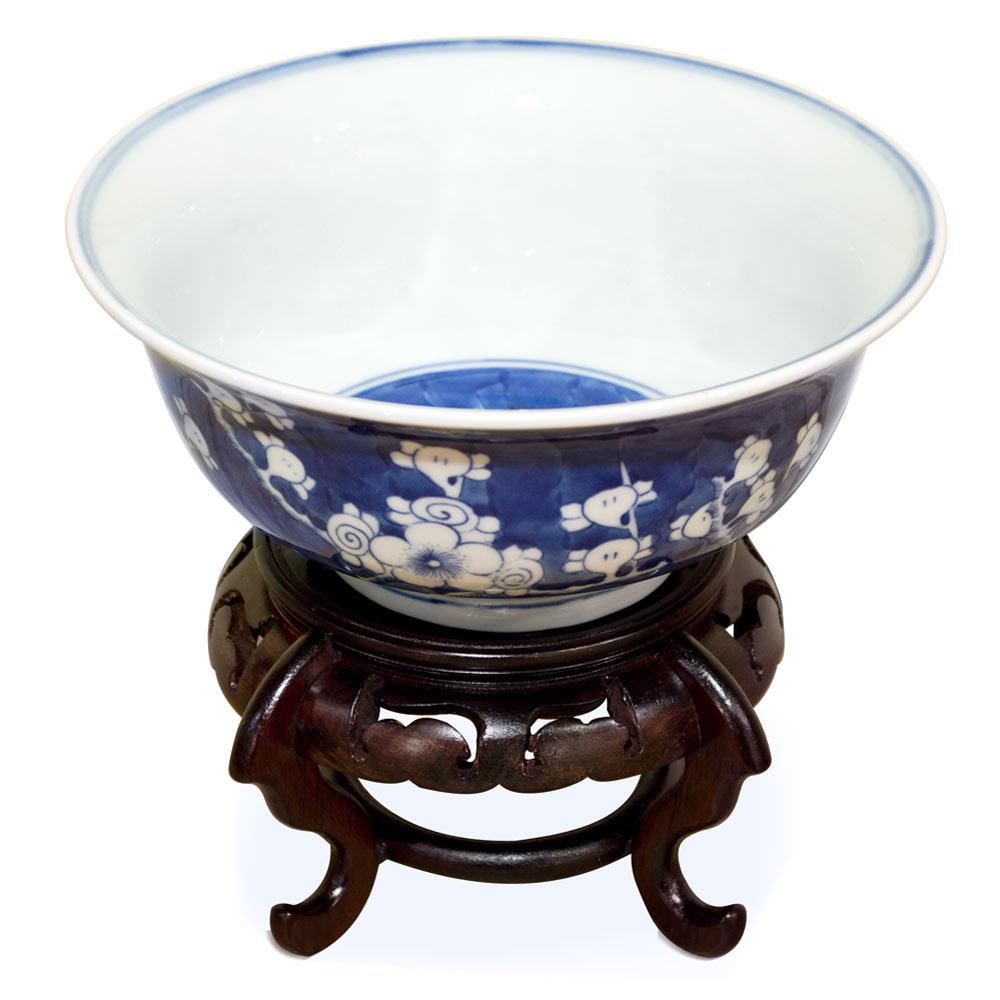Blue and White Petite Cherry Blossom Motif Porcelain Bowl