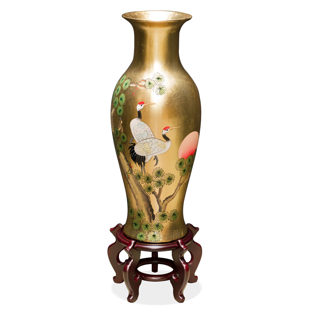 24 Inch Gold Leaf Longevity Cranes Oriental Vase