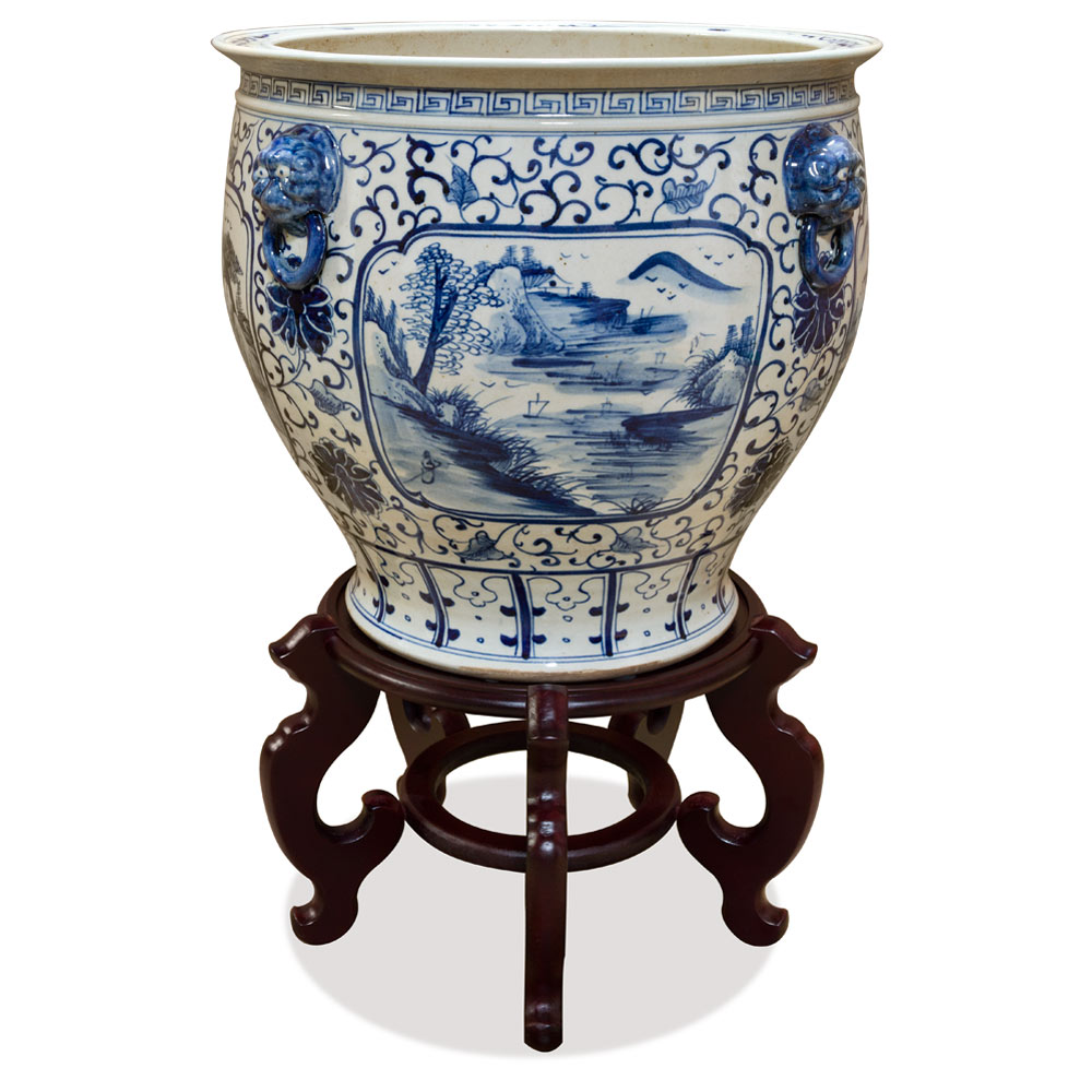 16.5 Inch Blue and White Porcelain Scenery Motif Chinese Fishbowl Planter