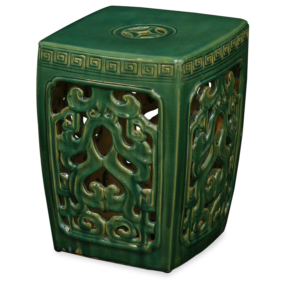 Green Porcelain Mythical Cloud Motif Asian Garden Stool